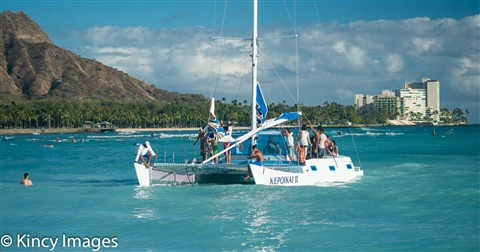 Catamaran off Waikiki Beach-4
