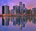 Chicago Streeterville skyline reflection viewed from Navy Pier.
