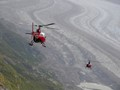 Flying to a glacier