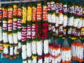 Colorful Flower Garlands in a flower shop
