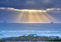 Sun setting through storm on south west Atlantic