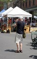 Older Photographer with OLD film Camera at Farmer's Market