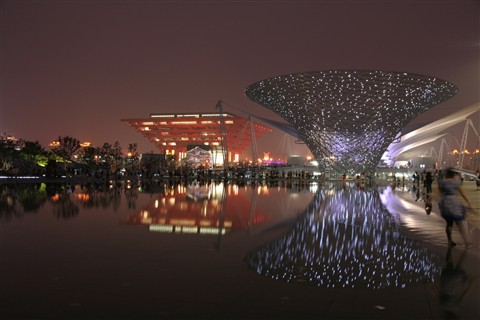 Expo 2010 - China Pavillion and reflections by night