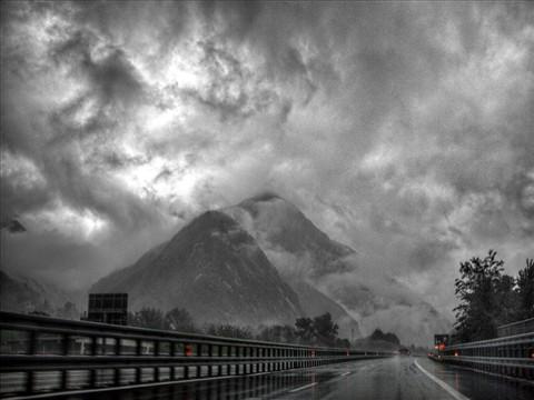 Driving through rain clouds